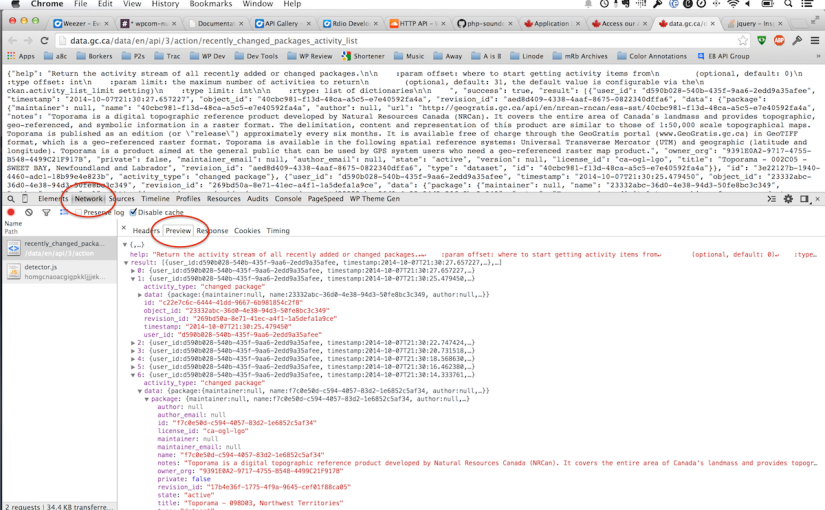 JSON in the ChromeInspector